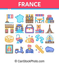 France Country Travel Collection Icons Set Vector. France Flag And Triumphal Arch, Eiffel Tower And Moulin Rouge, Cheese And Croissant Concept Linear Pictograms. Color Illustrations
