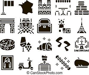 France Country Travel Glyph Set Vector. France Flag And Triumphal Arch, Eiffel Tower And Moulin Rouge, Cheese And Croissant Glyph Pictograms Black Illustrations