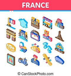 France Country Travel Collection Icons Set Vector. France Flag And Triumphal Arch, Eiffel Tower And Moulin Rouge, Cheese And Croissant Isometric Illustrations