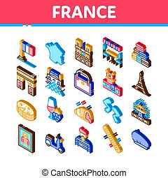 France Country Travel Icons Set Vector. Isometric France Flag And Triumphal Arch, Eiffel Tower And Moulin Rouge, Cheese And Croissant Illustrations