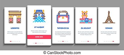 France Country Travel Onboarding Mobile App Page Screen Vector. France Flag And Triumphal Arch, Eiffel Tower And Moulin Rouge, Cheese And Croissant Color Contour Illustrations