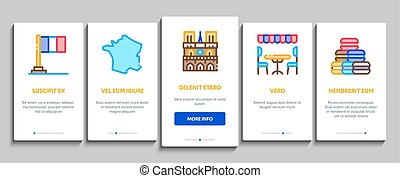 France Country Travel Onboarding Elements Icons Set Vector...