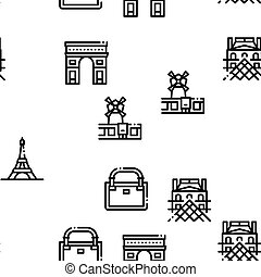 France Country Travel Seamless Pattern Vector Thin Line. Illustrations