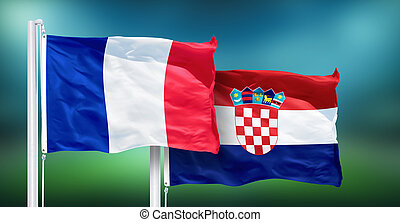 France - Croatia, FINAL of soccer World Cup, Russia 2018 National Flags