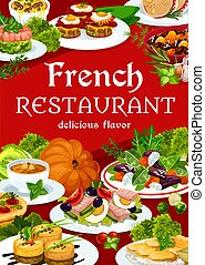 France cuisine vector dishes, meals, food poster - France ...