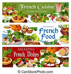France cuisine vector French dishes banners set - France ...