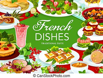 France cuisine vector French food, dishes poster - France ...