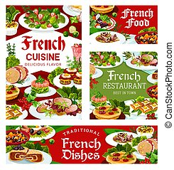 France cuisine vector French meals, dishes posters - France ...