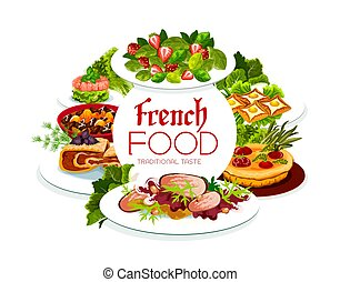 France cuisine vector French meals, food poster - France ...