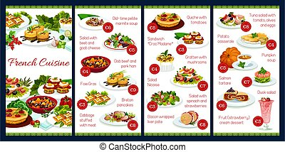 France cuisine vector menu template, French meals, dob beef ...