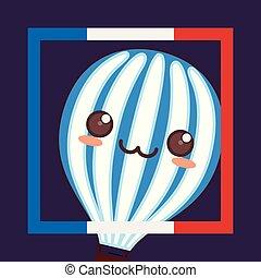 france culture card with balloon helium kawaii