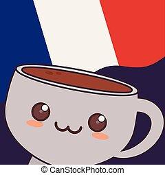 france culture card with coffee cup kawaii