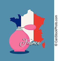 france culture card with flag and fragrance bottle