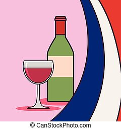 france culture card with flag and wine bottle