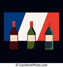 france culture card with flag and wine bottles