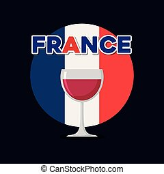 france culture card with flag and wine cup