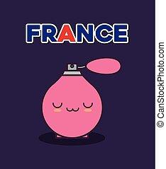 france culture card with fragance bottle kawaii
