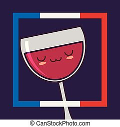 france culture card with wine cup kawaii