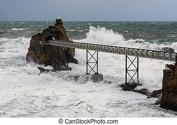france, de, biarritz, la, vierge, rocher