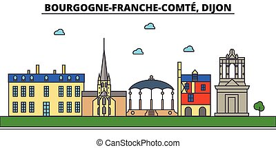 France, Dijon, Bourgogne Franche Comte . City skyline architecture, buildings, streets, silhouette, landscape, panorama, landmarks. Editable strokes. Flat design line vector illustration concept