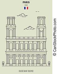 france., eglise, saint-sulpice, repère, icône, paris