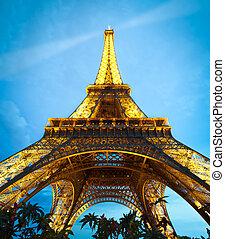 france., eiffel, parijs, night., toren