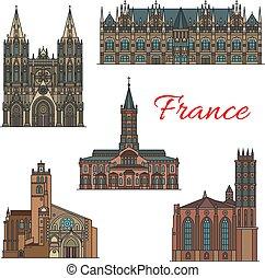 France famous travel landmarks vector icons