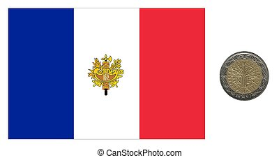 France, flag and coin