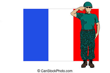 France flag and soldier - Vector drawing of a soldier in...