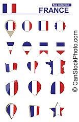 France Flag Collection. Big set for design.
