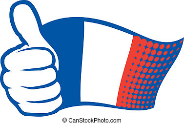France flag (flag of France). Hand showing thumbs up