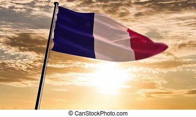 France Flag, HQ animated, sunset