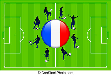 France Flag Icon Internet Button with Soccer Match