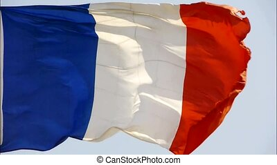 France flag is fluttering in wind.