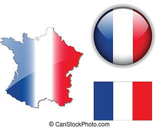 France flag, map, button vector set