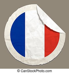 France flag on a paper label