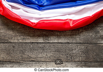France Flag on a wooden Background, copyspace