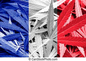 France Flag on cannabis background. Drug policy....