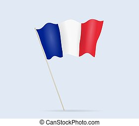 France flag on flagpole waving in the wind. Vector illustration.