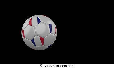 France flag on flying soccer ball on transparent background, alpha channel