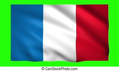 France flag on green screen for chroma key
