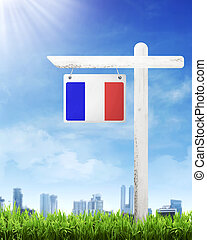 France flag on wood post banner