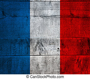 France Flag on Wood