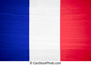 France flag on wood texture