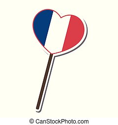 France flag pattern Lollipop candy heart shape