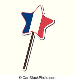 France flag pattern Lollipop candy star shape