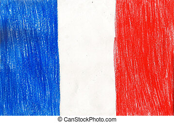 France flag, pencil drawing illustration kid style photo image
