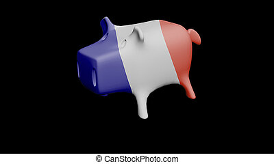 France flag Piggy Bank 3D Illustration