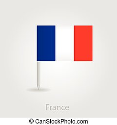 France flag pin map icon, vector illustration