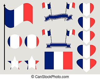 France flag set. Collection of symbols, flag in heart. Vector illustration